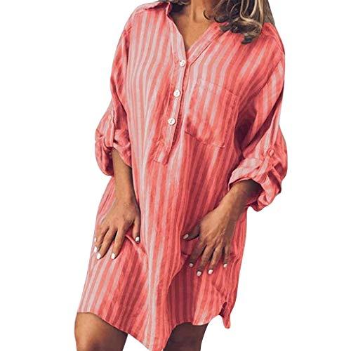 Clacce Sommerkleid Damen Leinenkleid Sommer V-Ausschnitt Strandkleid Freizeitkleid Strandkleider Boho Einfarbig A-Linie Kleid Knielang Kleid Casual Lose T-Shirt (Kletter Halloween Kostüme)
