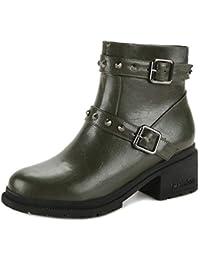 TAOFFEN Damen Klassischer Ankle Boots Blockabsatz Stiefeletten