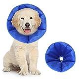 AOLVO aufblasbares Halsband für Hunde und Katzen, weiches Hundehalsband, für chirurgische Erholung von Hunden, Elizabethanisches Halsband, Haustierkopfkegel nach Operationen, Anti-Bittiing-Schutz, M