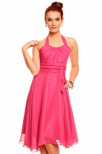 Knielanges Neckholder Kleid Chiffon Ballkleid Abendkleid Cocktailkleid Festkleid Chiffonkleid Pink