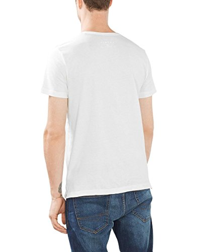 ESPRIT Herren T-Shirt mit Moderner Logotechnik - Regular Fit Weiß (White 100)