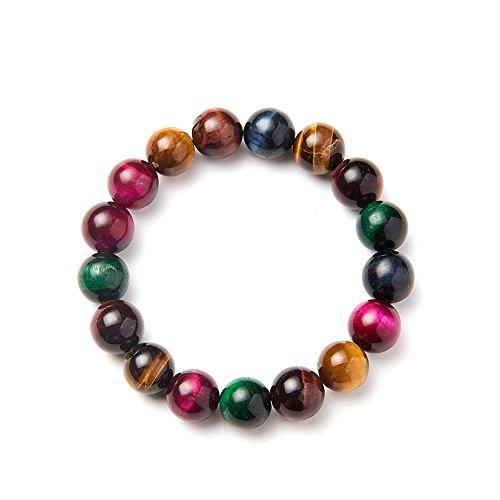 SUNNYCLUE Echte Edelsteine Multi Tiger Eye Armband Stretch Perlen rund 10 mm über 7' Unisex