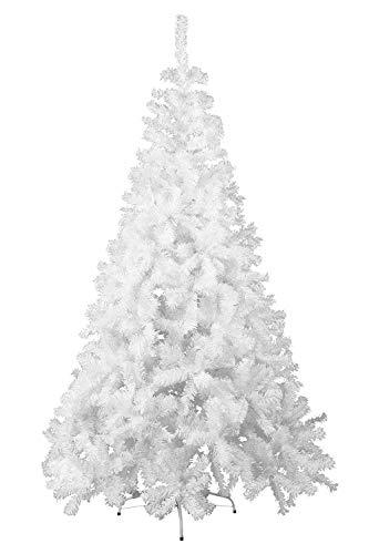 Hengmei 240cm albero di natale artificiale pvc bianca decorazione di natale incl. supporto in metallo