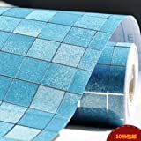 DUOCK Mosaik Wallpaper Aluminisierte Folie Öl Bad Fliesen Selbstklebend Papier Möbel Aufkleber Waterproof-Wallpaper - For-Bathroom, Blau, 0,45 M X 3 M
