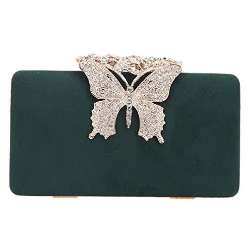 Bonjanvye Crystal Butterfly Velvet Clutch Purses for Women(Green) -