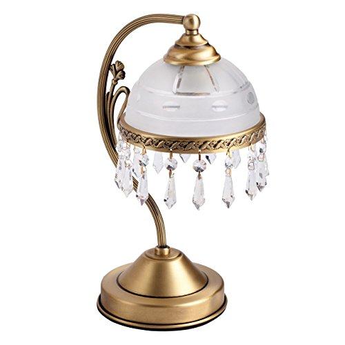 MW-Light 295036701 Lampe de Table Classique Armature en Laiton Abat-jour en Verre Déco Pampilles en Cristal pour Chambre Bureau Table de Chevet 1x60W E27