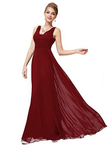 8162e703e339 Ever-Pretty Abito da Sera Scollo a V Donna Lunga Chiffon Impero Borgogna 40