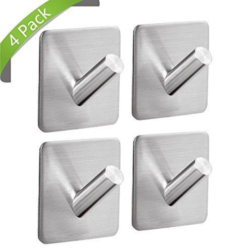 3M Haken Selbstklebend Edelstahl Ohne Bohren Kann zum Aufhängen von Bademänteln Handtüchern Kleidung und Toilettenartikeln Verwendet Werden Geeignet für Küche Bad Wohnzimmer (Haken A)