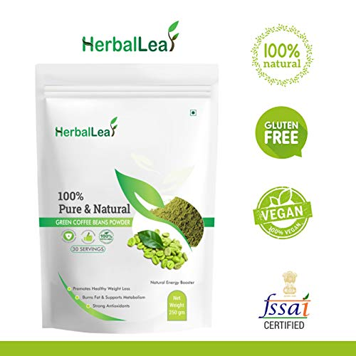HerbalLeaf Pure & Natural Green Coffee Beans Powder | Pack of 1 | Net Weight 250 gm