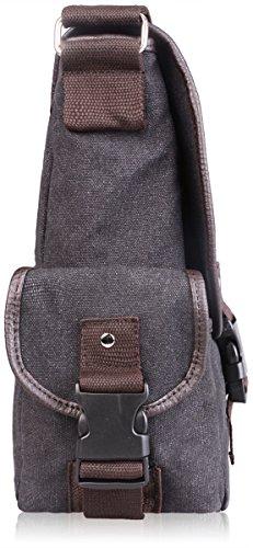 AB Earth Vintage Leather bag della tela di nylon scuola del messaggero della cartella del sacchetto, M707 Grigio con manicotto del computer portatile