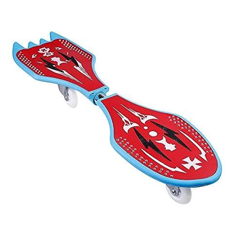 Ancheer Waveboard mit Tasche und Leuchtrollen,Streetboard mit ABEC-7 Kugellager, Form:Fledermaus und Rakete,81cm x 21.5cm, bis 85kg