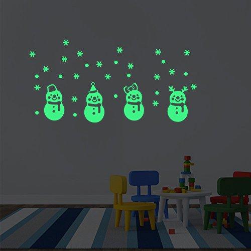 MAYOGO Leuchtende Schneemann-Weihnachts Wand-Aufkleber Schön Nacht Fluoreszenz Spiegel Applique Wand Stickers 15 * ()