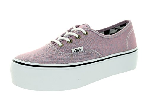 Vans Women's Authentic Platform Canvas Lace-Up Trainer Washed Denim Pink Pink