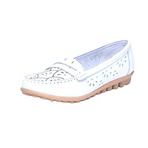 YAANCUN Femme Mocassins En Cuir Casuel Confort Chaussures Plates Loafers Chaussures De Conduite Blanc