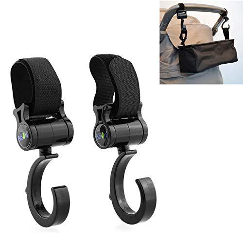 2Pcs Multi Function Baby Prams Strollers Pushchair Swivel Strap Clothes Hooks 2in Loop Tape