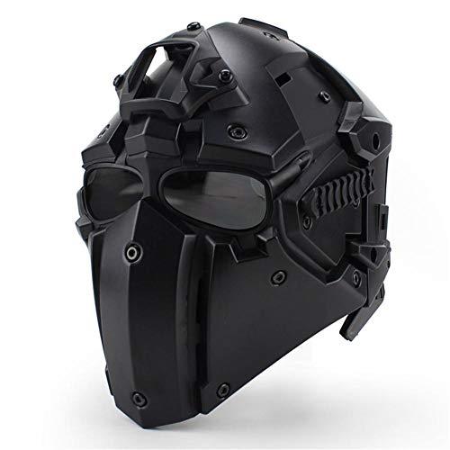 ckground Airsoft Schutzmaske, Vollgesichtshelm für BB Gun CS Cosplay Halloween Maskerade, versteckter Lüfter, Verstellbarer Motorradhelm