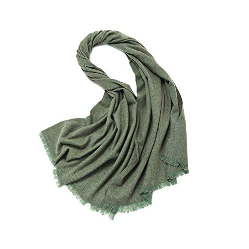 Easy Go Shopping New Schal Herbst und Winter Frauen einfarbig Dicke warme Damen Schal aus Reiner Wolle Schal weiche Wild Lätzchen (Farbe : Dark Green, Größe : Einheitsgröße)