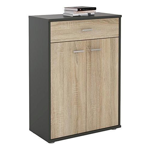 CARO-Möbel Kommode Sideboard Schrank Tommy in Grau/Sonoma Eiche, Anrichte Highboard mit Schublade und 2 Türen