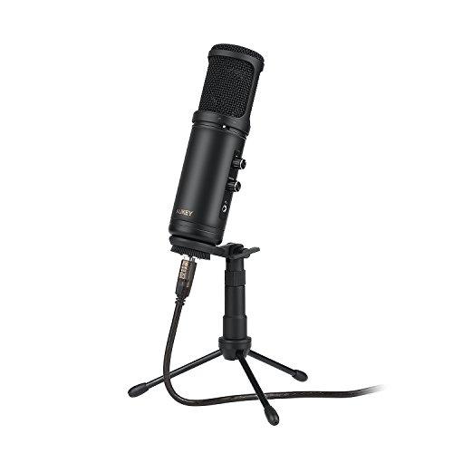 AUKEY PC Mikrofon usb Kondensator Mikrofon mit 3,5mm Kopfhörerbuchse und mikrofon Ständer für Podcast, Recording und Chat, für PC und Mac
