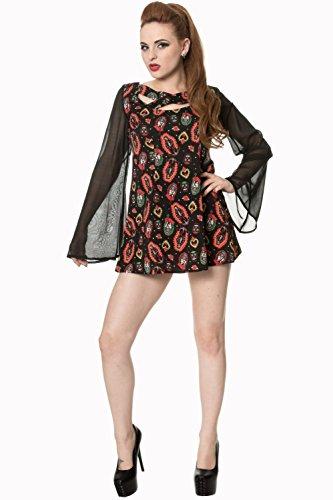 Banned Apparel Vietato sacro Cuore Maniche Flare Alternative Dress Black