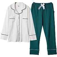 DUKUNKUN Suelta Pijiama Mujer Algodón Manga Larga Elástico Cintura Salón Homewear Pijamas-S