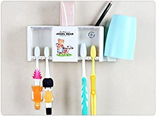 Zollyss Cute Angel Bear Plastic Toothbrush Stand Holder Rack with 2 Suction Cups and Hook for Holding Napkin, Tongue Cleaner, Mugs - Wall Mounted