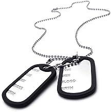 AnaZoz Joyería de Moda Collar de Hombre Acero Inoxidable Cadenas Collar Colgante Para Hombre Estilo Army Etiqueta de Perro Plata