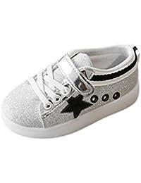 Bebé niño niña LED estrellas zapatillas con luces ,Yannerr Chica Chico luminoso colorido ligeros deporte Running llevó antideslizante zapatos