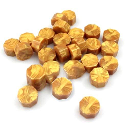100 Stück achteckige Siegelwachsperlen Stäbchen Deko-Tabletten Granulat Wachs Siegelperlen Free Size gold