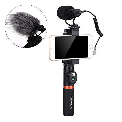 Yunchenghe CVM-VM10-K3 Smartphone Video Filmmaker Kit Grip mit Shotgun-Mikrofon Video Video Rig,für iPhone / 8 Plus / 07.08 Over / 7 / Samsung/Huawei usw. (Bluetooth inklusive Remote) Shotgun Remote