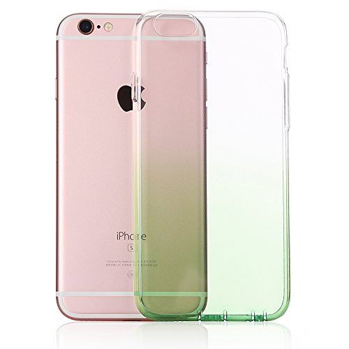 MicBridal® iPhone 6 / 6S/ 6P/ 6SP Hülle Gradient Transparent Farbe Bildserie Weich Silikon Schutzhülle Ultradünnen- Case für Apple iPhone 6 / 6P Schutz Hülle Transparent (Iphone7, 7/7Plus Schwarz) Grasgrün