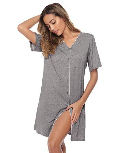 Sykooria Camisón Manga Corta camisón Mujer Camisa