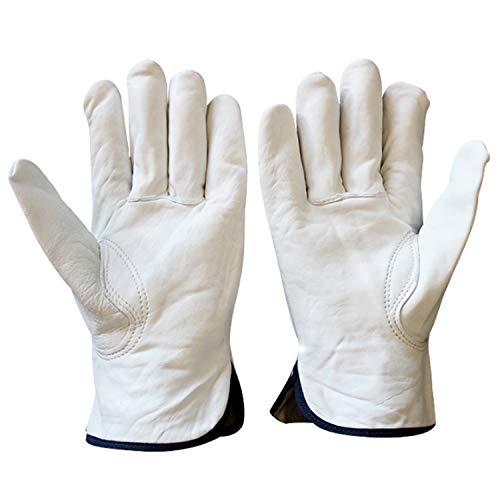 Guantes de trabajo de piel de oveja de cuero para hombres, guantes para conductores (2 pares) (Color : White, Size : M)