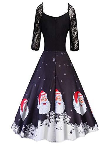 Damen Weihnachten Kleid Frauen Abendkleid Vintage Weihnachtsfeier Dress -