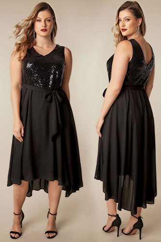 Yours Women's Plus Size Sequin Embellished Dress with Self Tie Waist & Curved Hem Size 30-32 Black