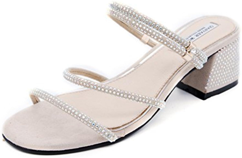LIXIONG zapatillas Hembra verano Moda Dos desgaste Diamante de imitación Medio, grueso, talón Ropa exterior zapato...