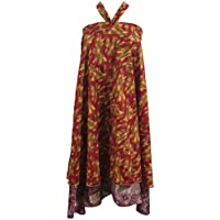 Mogul Interior Boho Magic Wrap Skirt Red Printed Vintage Silk Sari Reversible Long Skirt, Beach Wear One Size ...