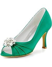 ElegantPark EP2094AE Mujer Peep Toe AE Desmontable Zapatos Clips Zapatillas El tacón alto Satén Baile Zapatos de Boda