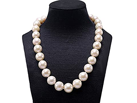 JYX Huge 13-16mm Round White Freshwater Edison Pearl Necklace 18