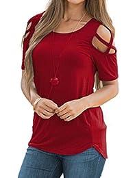 f9d3454f32c LILICAT Frauen Sommer Kurzarm Shirt Strappy Schulter T-Shirt Damen Mode  Rundhals Oberteile V Ausschnitt Shirt…