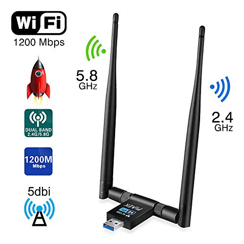 innislink WLAN Stick Adapter, WiFi Adapter 1200 Mbps USB WLAN Empfänger Adapter Wireless Dongle Dual Band 2.4GHz/300Mbps 5GHz/867Mbp Antenne Netzwerk für PC Laptop Windows XP/Vista/7/8/10 Linux MAC OS Usb-empfänger