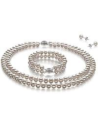 TreasureBay - Conjunto de collar, pulsera y pendientes de dos filas de perlas de 7-8 mm, elegante y natural - Se envía en caja de regalo