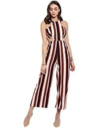a072356817c Spotstyl Tan Stripe trim dungaree jumpsuits for women stylish casual  jumpsuits for girls casual jumpsuits for women s…