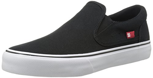 DC Trase Slip-On TX Skate Shoe, Black/White, 12.5 M US Black/White