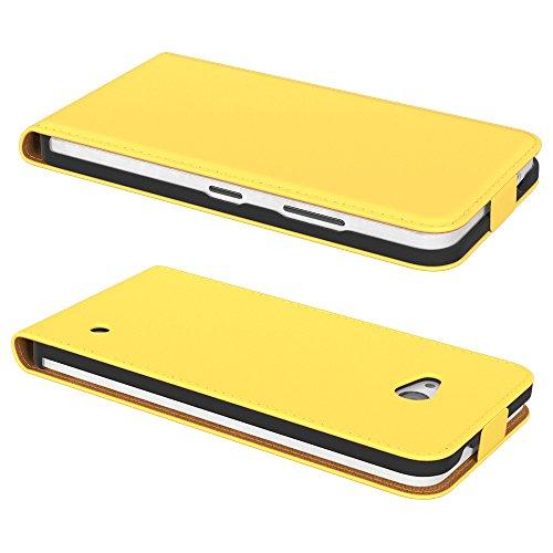 PREMIUM - Flip Case für - Nokia Lumia 535 - Wallet Cover Hülle Schutzhülle Etui Tasche Schwarz Gelb (Flip)