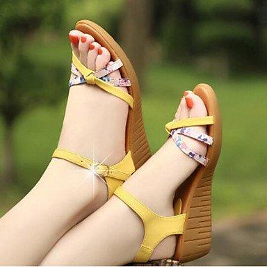 LQXZM sandales pour femmes de confort décontracté PU Printemps Bleu Jaune Beige Argent Or Yellow