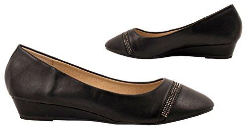 Elara Damen Pumps | Bequeme Keil Schuhe | Kleiner Keilabsatz Lederoptik Schwarz Paris