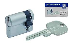BASI Schließsysteme BASI 3-AX Halbzylinder 10/60 mm, inkl. 3 Schlüssel und Sicherungskarte, 4305-1060