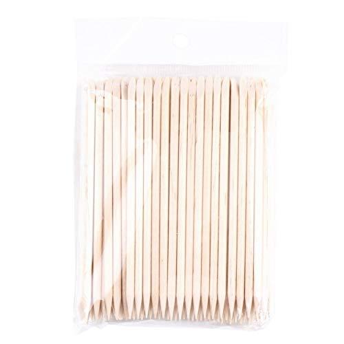 ShenyKada 100 Stücke Nagelkunst Orange Holz Stick Nagelhautschieber Remover Spaten Form Maniküre Nägel Toolc