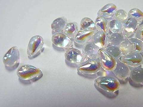 Lot de 40() x 9mm Perles Goutte Larme en Verre Tchèque–Cristal AB–W013
